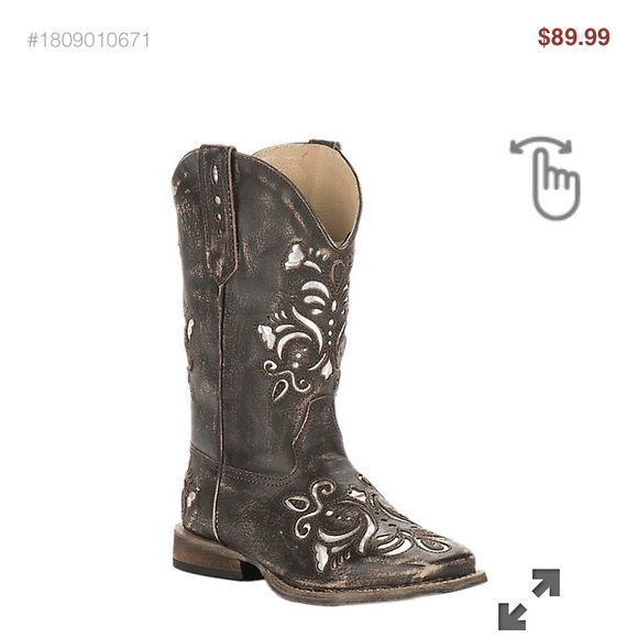 70cb48a724a Roper Kids Girls Leather Square Toe Boots